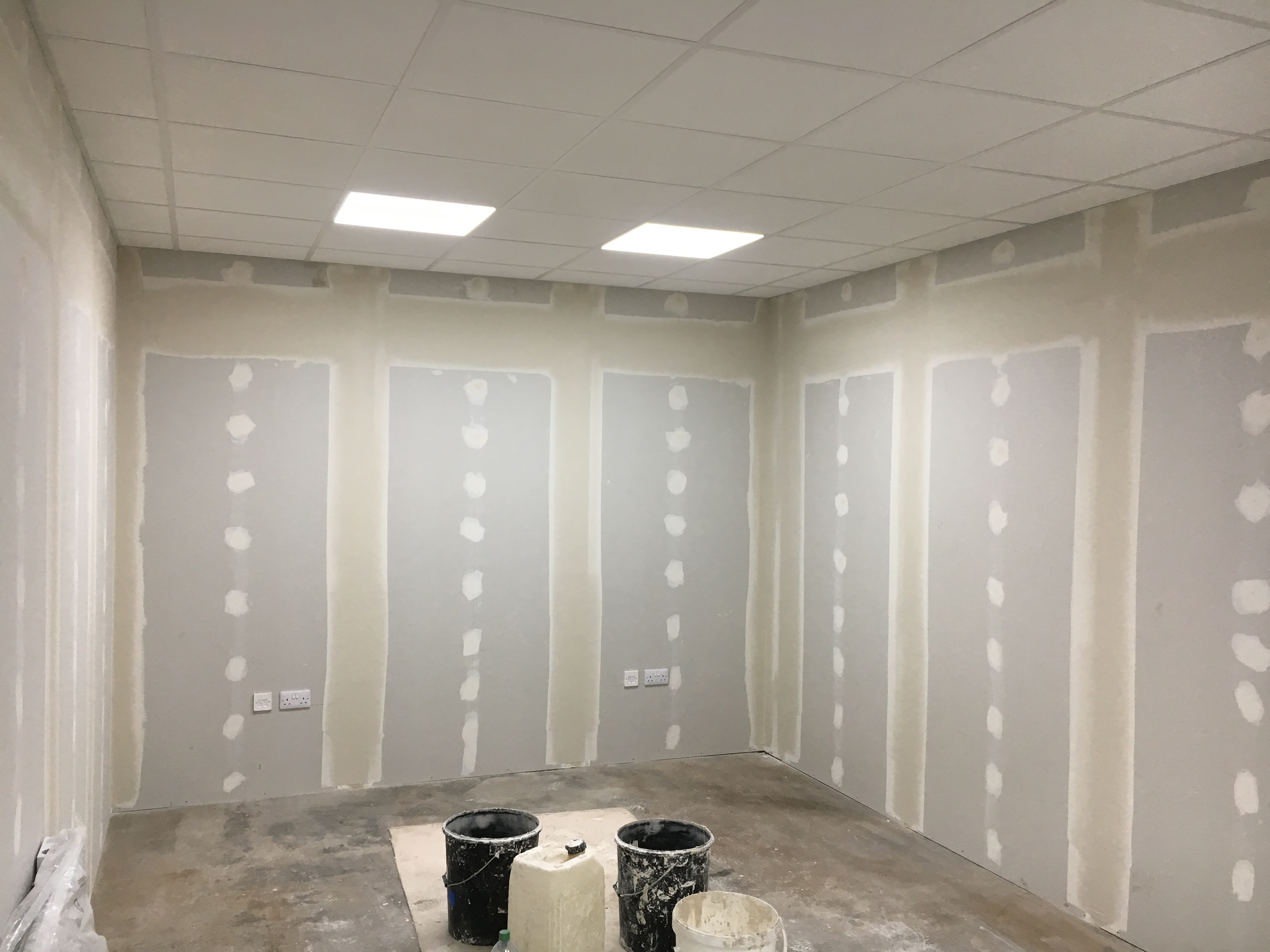 A recent plastering project showcasing the Dot and Dab plastering method
